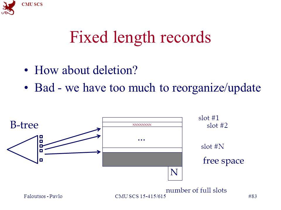 CMU SCS Faloutsos - PavloCMU SCS 15-415/615#83 Fixed length records How about deletion.