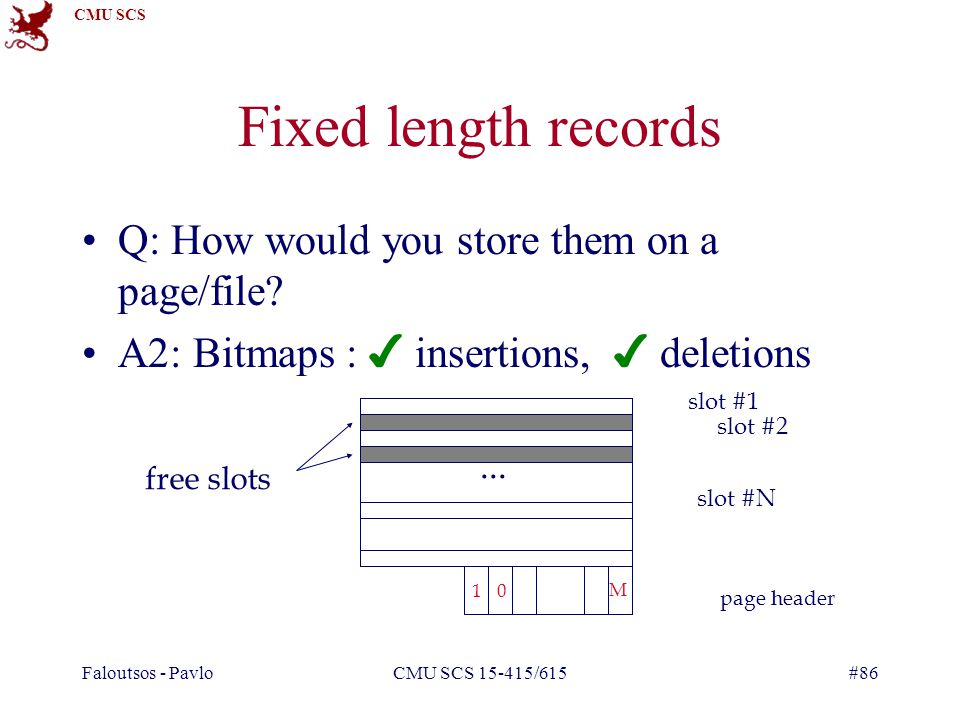 CMU SCS Faloutsos - PavloCMU SCS 15-415/615#86 Fixed length records Q: How would you store them on a page/file.