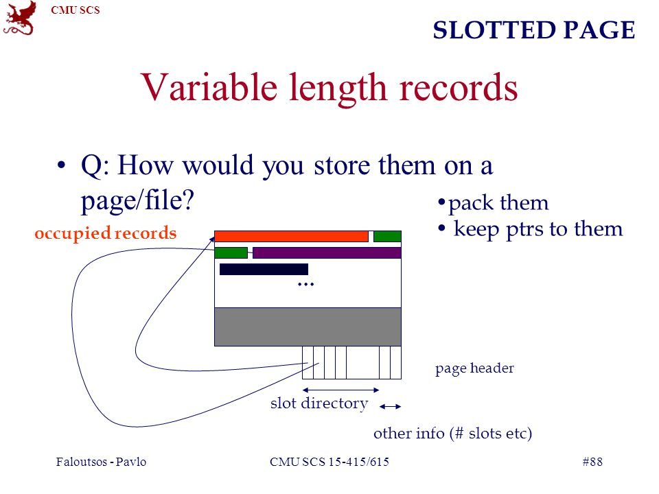 CMU SCS Faloutsos - PavloCMU SCS 15-415/615#88 Variable length records Q: How would you store them on a page/file?...