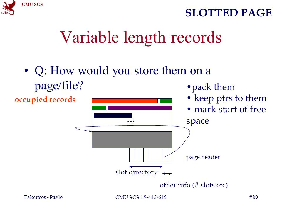 CMU SCS Faloutsos - PavloCMU SCS 15-415/615#89 Variable length records Q: How would you store them on a page/file?...