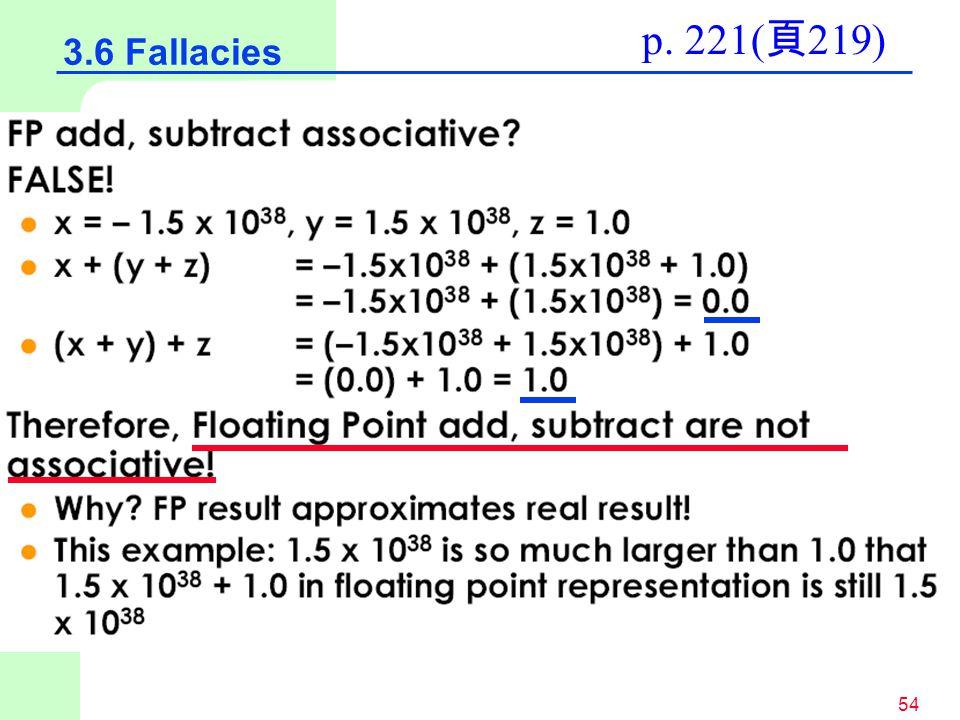 54 3.6 Fallacies p. 221( 頁 219)