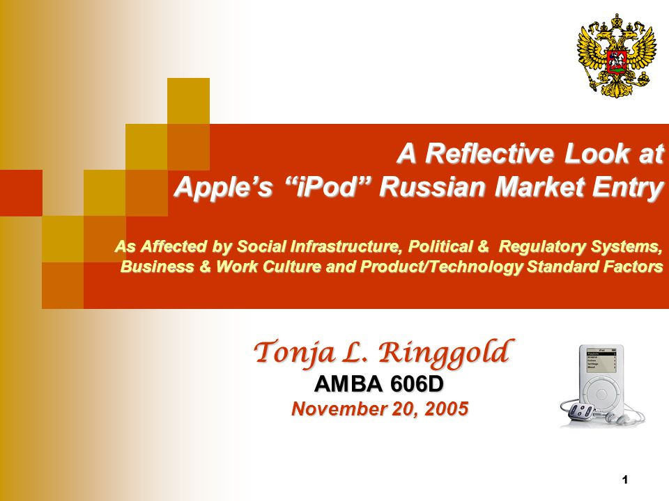 52 Product & Technical Standards Factors continued… Apple's Availability and developments in Russian technology can have a powerful influence on Apple's market entry strategy.