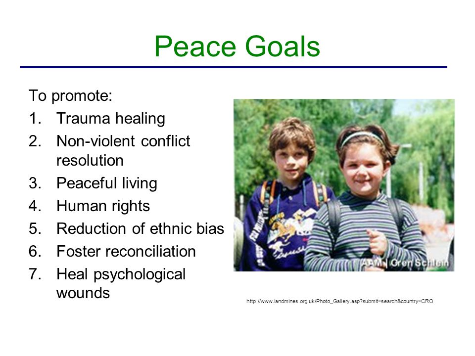 Foundations Health initiative = trauma healing Peace initiative = non-violence and reduction of ethnic bias http://www.landmines.org.uk/Photo_Gallery.asp?submit=search&country=CRO …psychological healing and social healing were interdependent and mutually reinforcing.