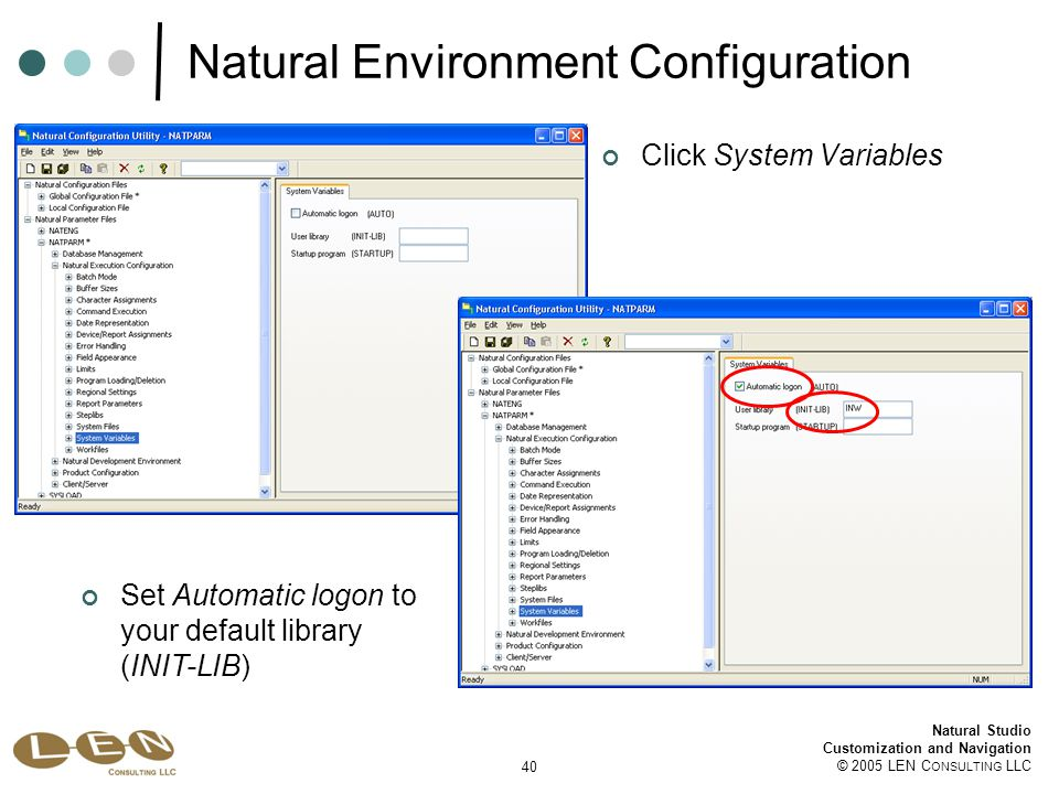 40 Natural Studio Customization and Navigation © 2005 LEN C ONSULTING LLC Natural Environment Configuration Set Automatic logon to your default library (INIT-LIB) Click System Variables