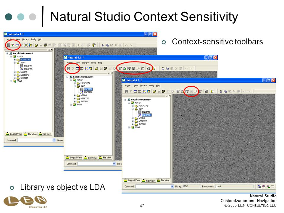 47 Natural Studio Customization and Navigation © 2005 LEN C ONSULTING LLC Natural Studio Context Sensitivity Library vs object vs LDA Context-sensitive toolbars