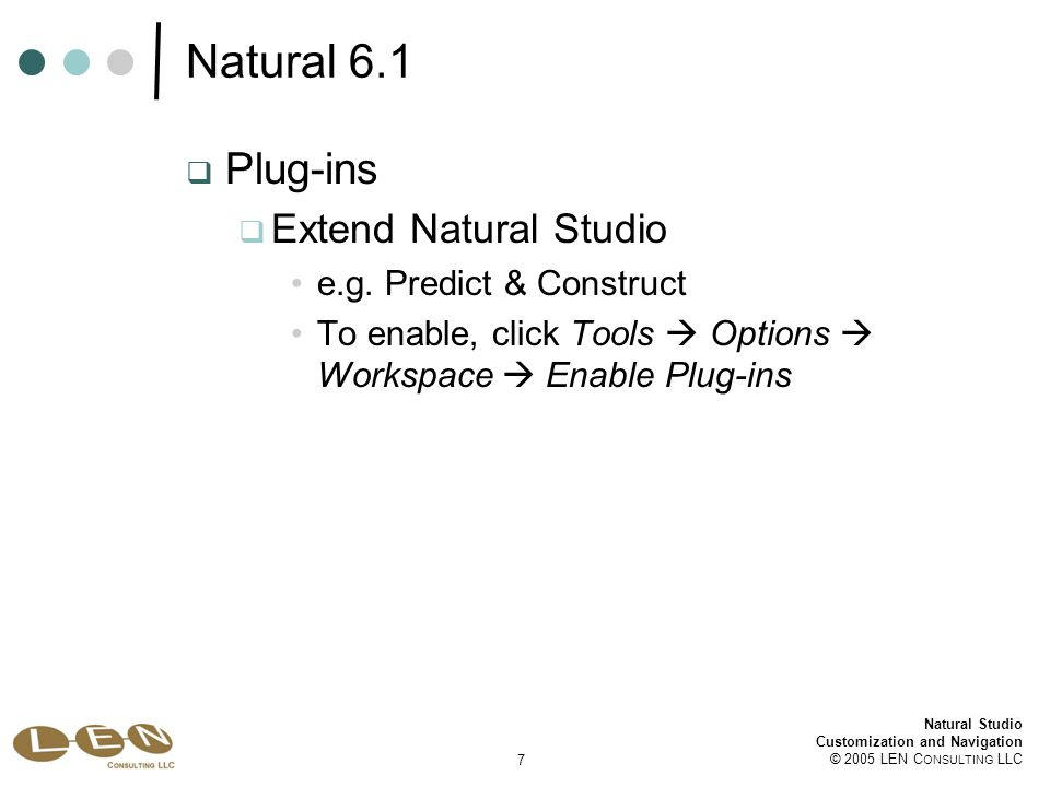 18 Natural Studio Customization and Navigation © 2005 LEN C ONSULTING LLC Natural Studio Customization Select Tools  Customize  Commands Window category Drag and drop Tile Vertically and Tile Horizontally icons to Compiler Options toolbar