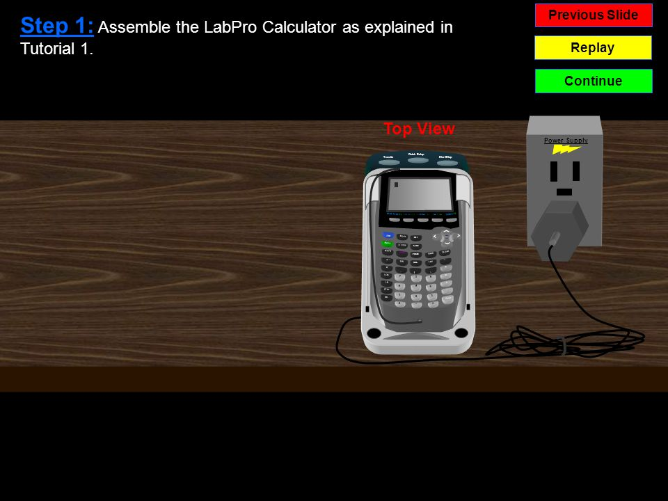 Top View Previous Slide Replay Continue VERNIER LabPro Quick Setup Start/Stop Transfer Vernier Power Supply STAT PLOT F1 TBLSET F2 FORNAT F3CALC F4 TABLE F5 Alpha 2ND Mode DEL STAT PRGM COS ( X,T,O,N APPS MATH 7 4 1 0 8 5 2.