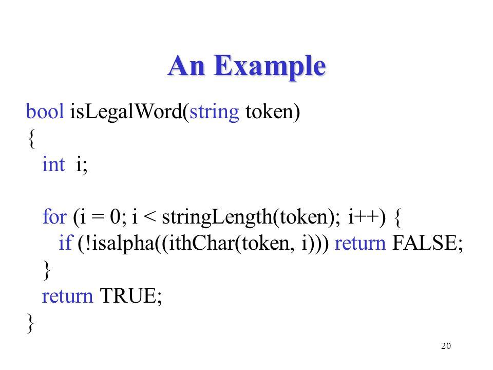 20 An Example bool isLegalWord(string token) { int i; for (i = 0; i < stringLength(token); i++) { if (!isalpha((ithChar(token, i))) return FALSE; } return TRUE; }