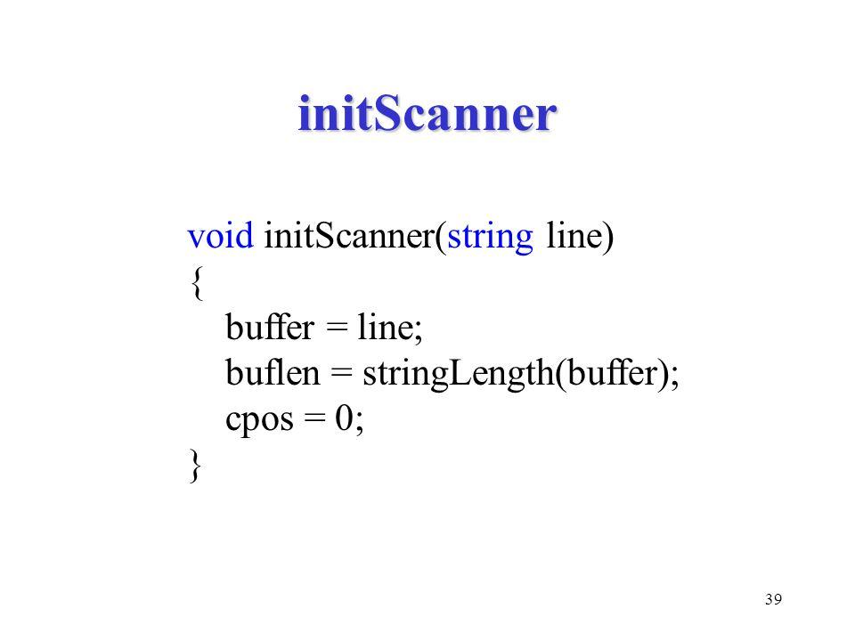 39 initScanner void initScanner(string line) { buffer = line; buflen = stringLength(buffer); cpos = 0; }