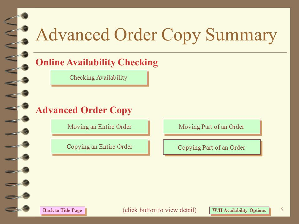 4 Advanced Order Copy 4 Advanced order copy and availability functions are available from within an order while entering a new order or changing an existing order 4 Warehouse availability is viewed by pressing a function key 4 Advanced order copy is initiated by pressing a function key An I/O enhancement...
