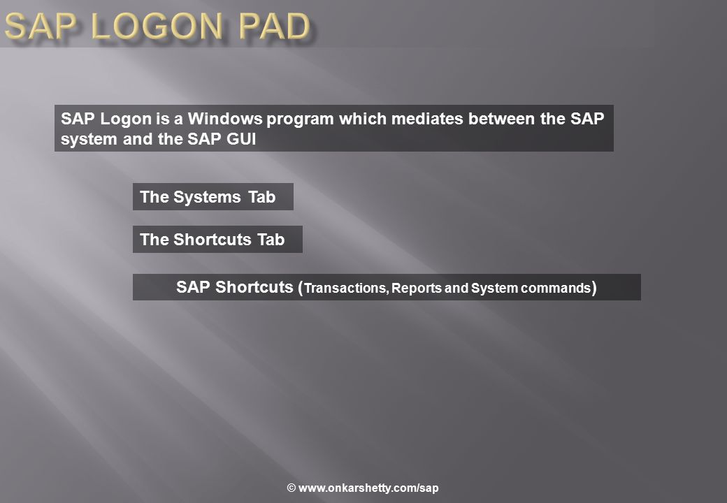 SAP Logon is a Windows program which mediates between the SAP system and the SAP GUI The Systems Tab The Shortcuts Tab SAP Shortcuts ( Transactions, R