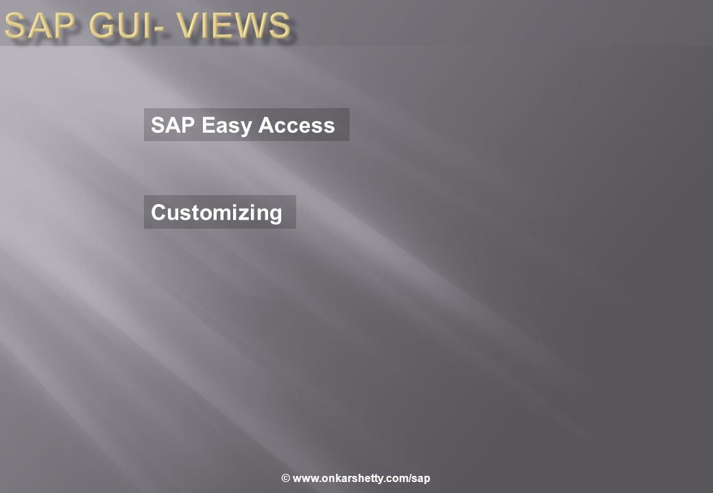 SAP Easy Access Customizing © www.onkarshetty.com/sap