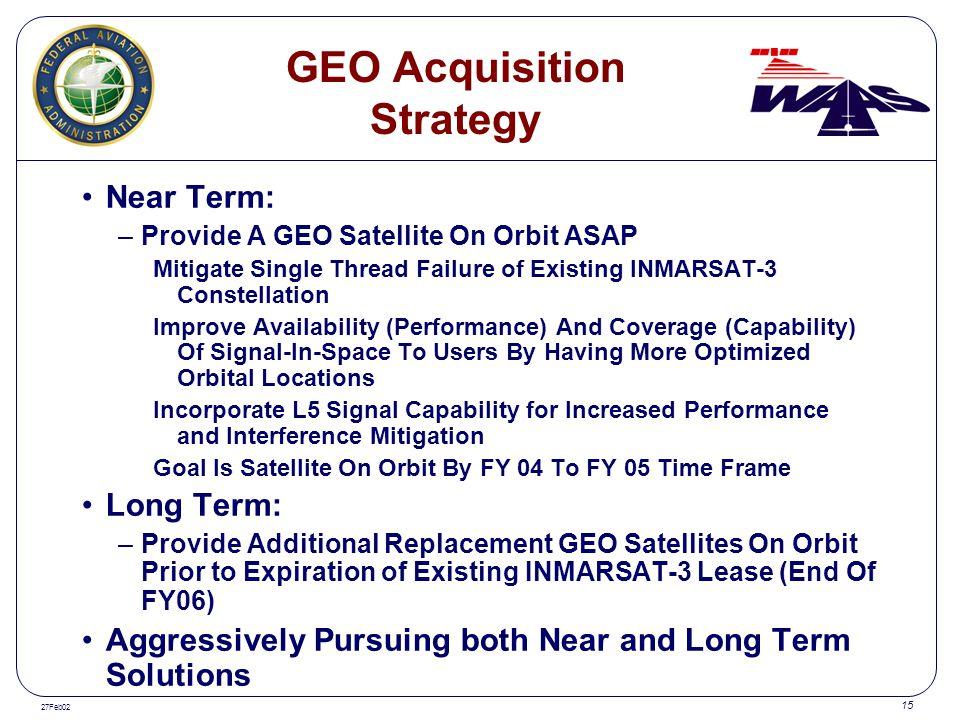 27Feb02 15 GEO Acquisition Strategy Near Term: –Provide A GEO Satellite On Orbit ASAP Mitigate Single Thread Failure of Existing INMARSAT-3 Constellat