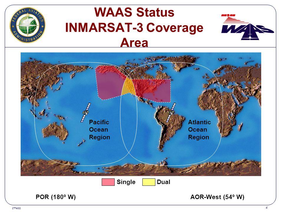 27Feb02 4 Single Dual Pacific Ocean Region Atlantic Ocean Region POR (180º W) AOR-West (54º W) WAAS Status INMARSAT-3 Coverage Area