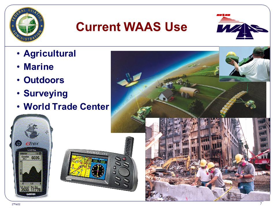 27Feb02 7 Current WAAS Use Agricultural Marine Outdoors Surveying World Trade Center