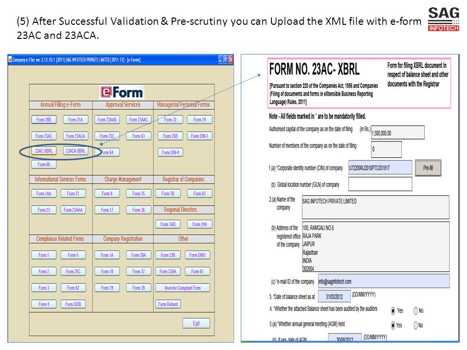 (5) After Successful Validation & Pre-scrutiny you can Upload the XML file with e-form 23AC and 23ACA.