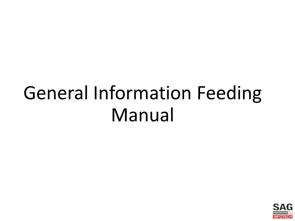 General Information Feeding Manual