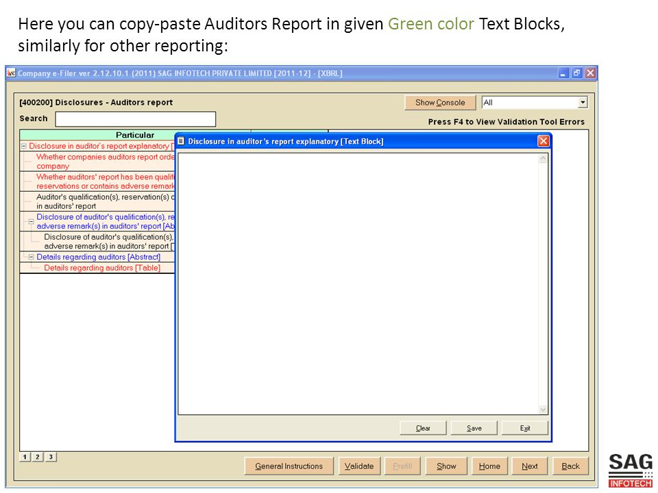 Here you can copy-paste Auditors Report in given Green color Text Blocks, similarly for other reporting: