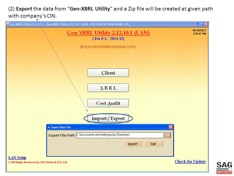 (2) Export the data from Gen-XBRL Utility and a Zip file will be created at given path with company's CIN.