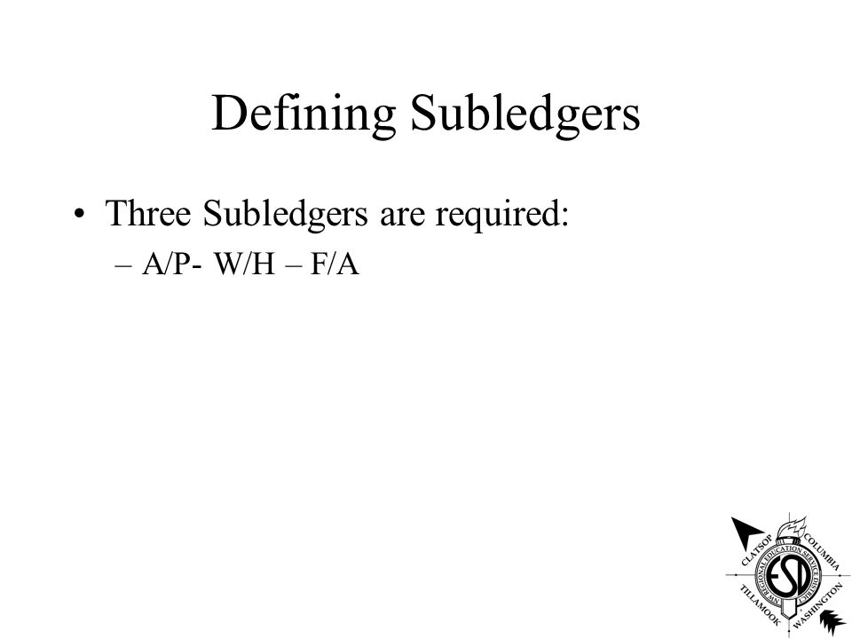 Defining Subledgers Three Subledgers are required: –A/P- W/H – F/A