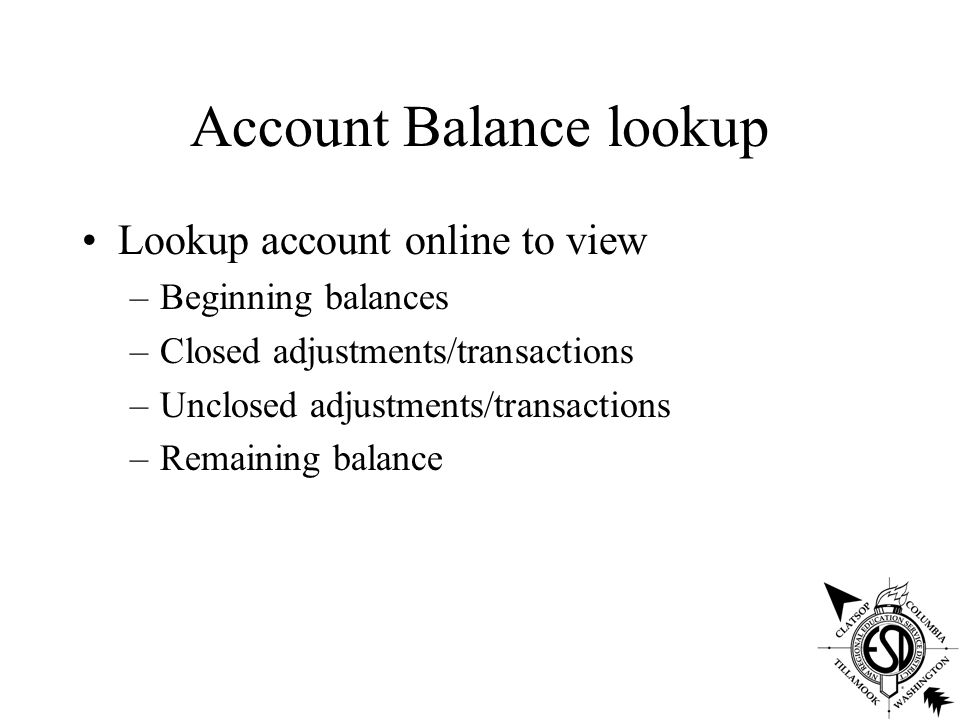 Account Balance lookup Lookup account online to view –Beginning balances –Closed adjustments/transactions –Unclosed adjustments/transactions –Remaining balance