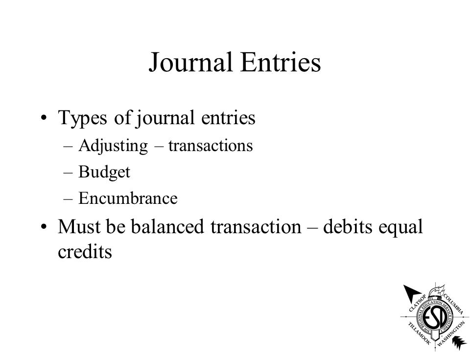 Journal Entries Types of journal entries –Adjusting – transactions –Budget –Encumbrance Must be balanced transaction – debits equal credits