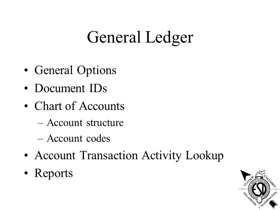 General Ledger General Options Document IDs Chart of Accounts –Account structure –Account codes Account Transaction Activity Lookup Reports