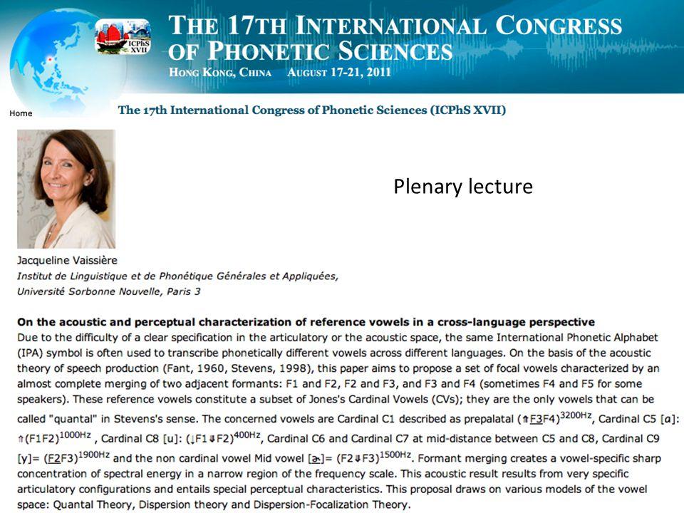 1 Plenary lecture