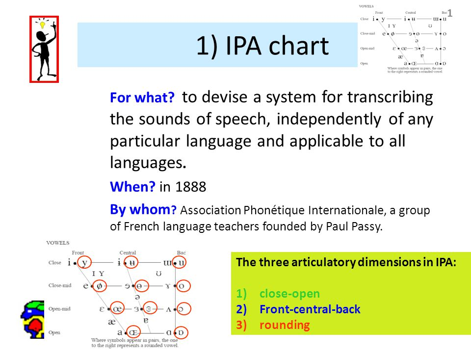 11 1) IPA chart For what? to devise a system for transcribing the sounds of speech, independently of any particular language and applicable to all lan