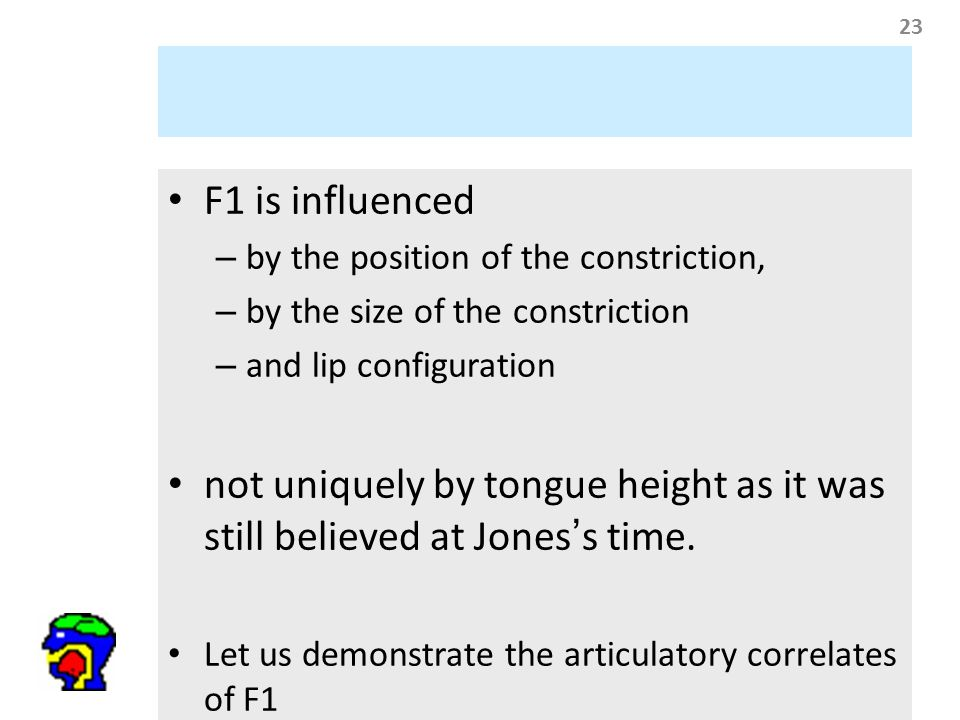 23 F1 is influenced – by the position of the constriction, – by the size of the constriction – and lip configuration not uniquely by tongue height as