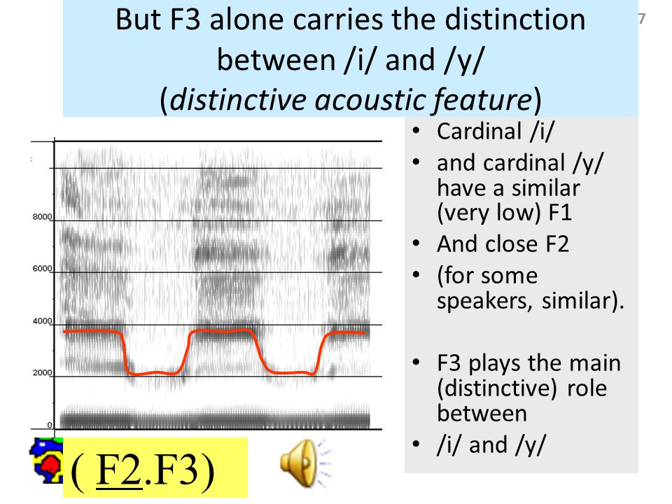 47 But F3 alone carries the distinction between /i/ and /y/ (distinctive acoustic feature) ( F2.F3) Cardinal /i/ and cardinal /y/ have a similar (very