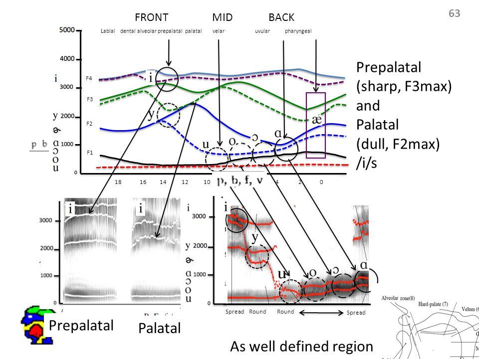63 Labial dental alveolar prepalatal palatal velar uvular pharyngeal F4 F3 F2 F1 18 16 14 12 10 8 6 4 2 0 FRONT MID BACK Round Spread Round Spread Prepalatal (sharp, F3max) and Palatal (dull, F2max) /i/s Prepalatal Palatal As well defined region