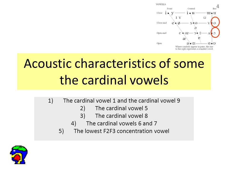 84 Acoustic characteristics of some the cardinal vowels 1)The cardinal vowel 1 and the cardinal vowel 9 2)The cardinal vowel 5 3)The cardinal vowel 8