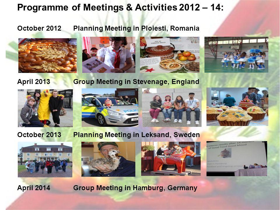 Programme of Meetings & Activities 2012 – 14: October 2012Planning Meeting in Ploiesti, Romania April 2013Group Meeting in Stevenage, England October 2013Planning Meeting in Leksand, Sweden April 2014Group Meeting in Hamburg, Germany