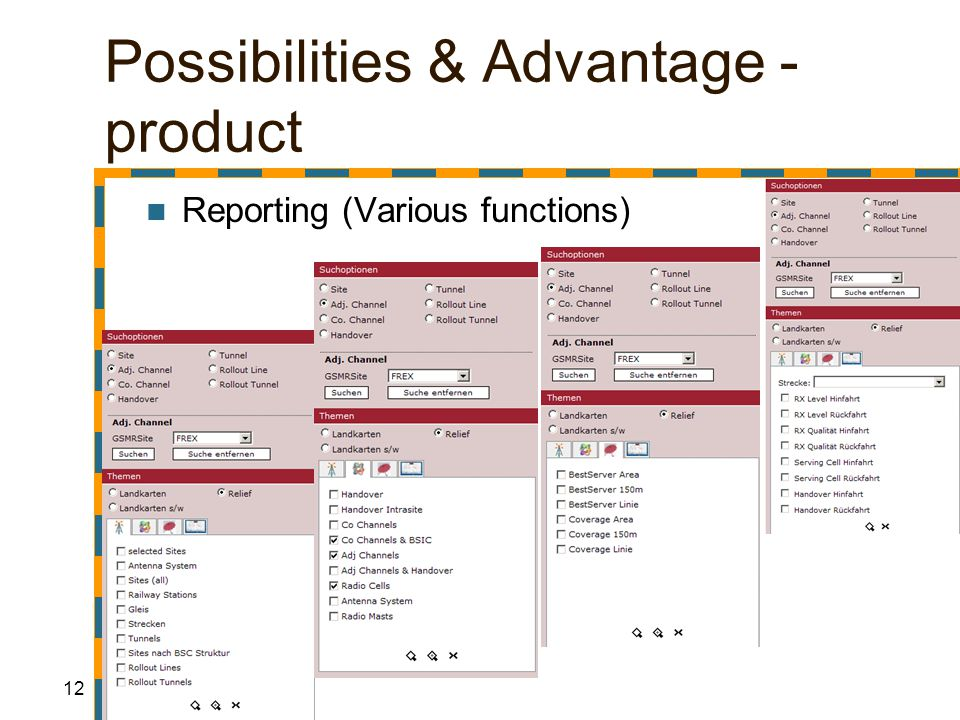 12 Possibilities & Advantage - product Reporting (Various functions)