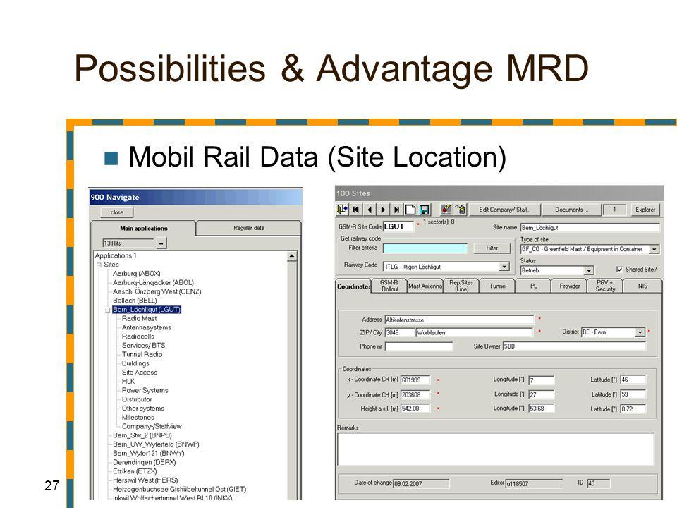 27 Possibilities & Advantage MRD Mobil Rail Data (Site Location)
