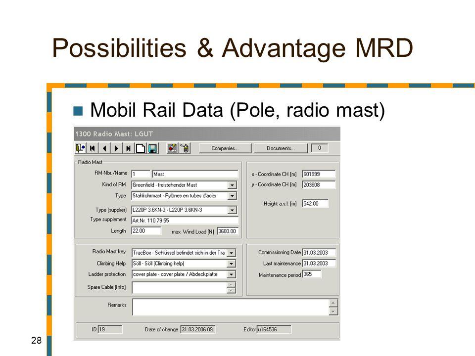 28 Possibilities & Advantage MRD Mobil Rail Data (Pole, radio mast)