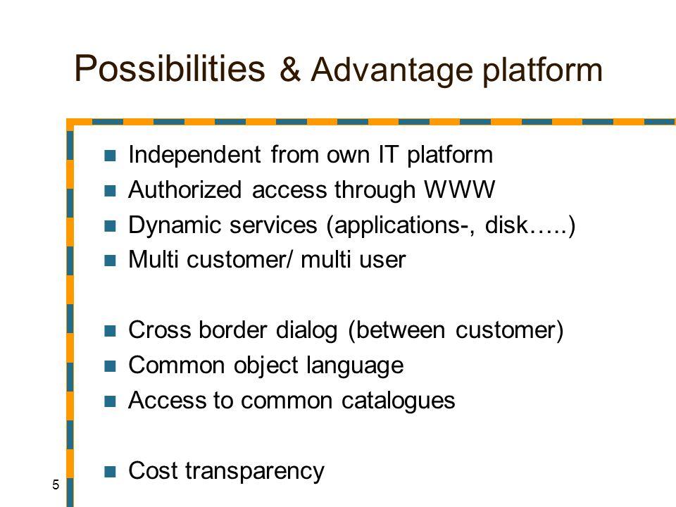 6 Possibilities & Advantage platform More advantages: