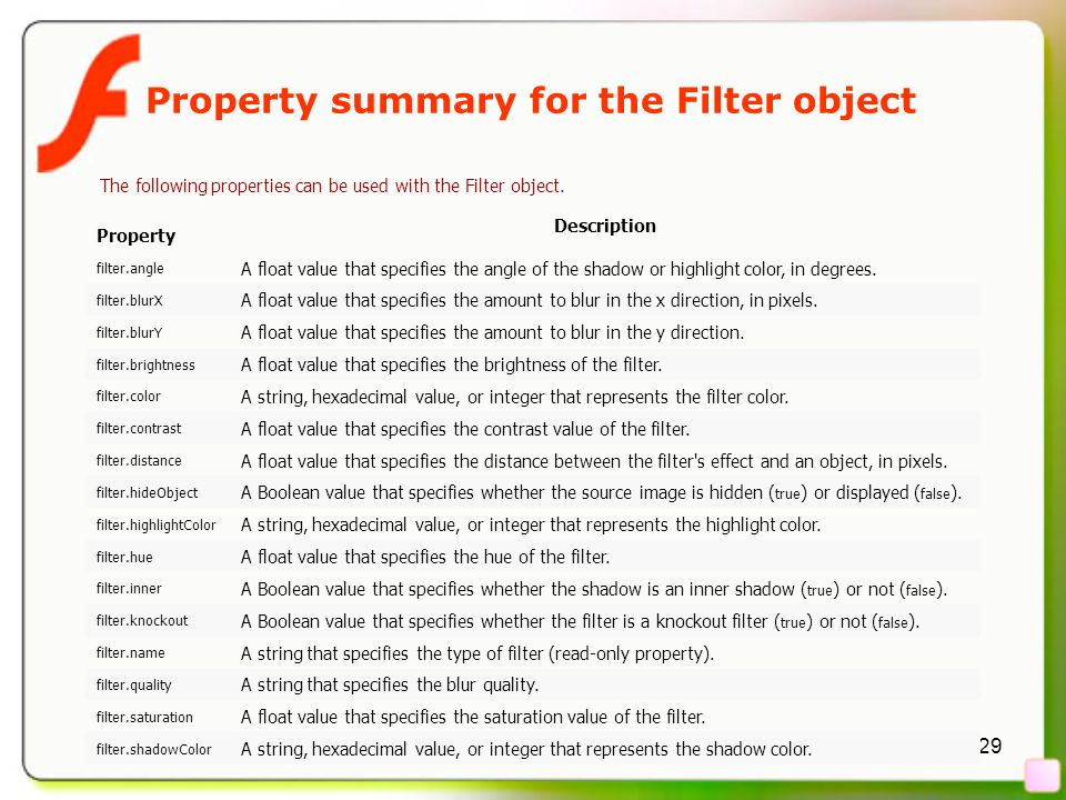 29 Property summary for the Filter object The following properties can be used with the Filter object.