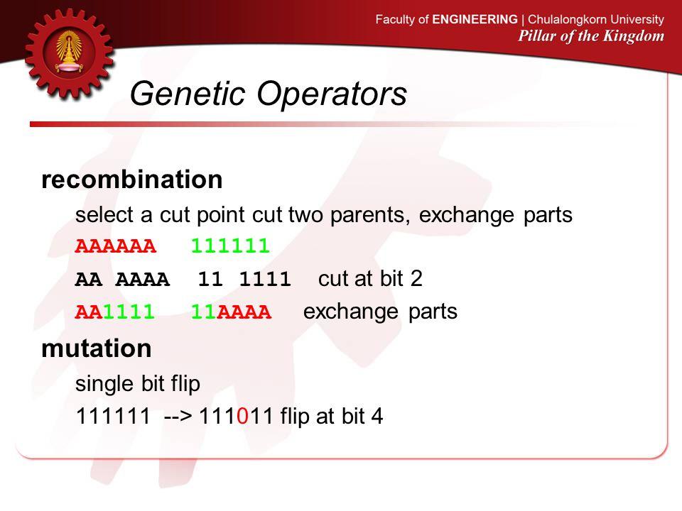 Genetic Operators recombination select a cut point cut two parents, exchange parts AAAAAA 111111 AA AAAA 11 1111 cut at bit 2 AA1111 11AAAA exchange p