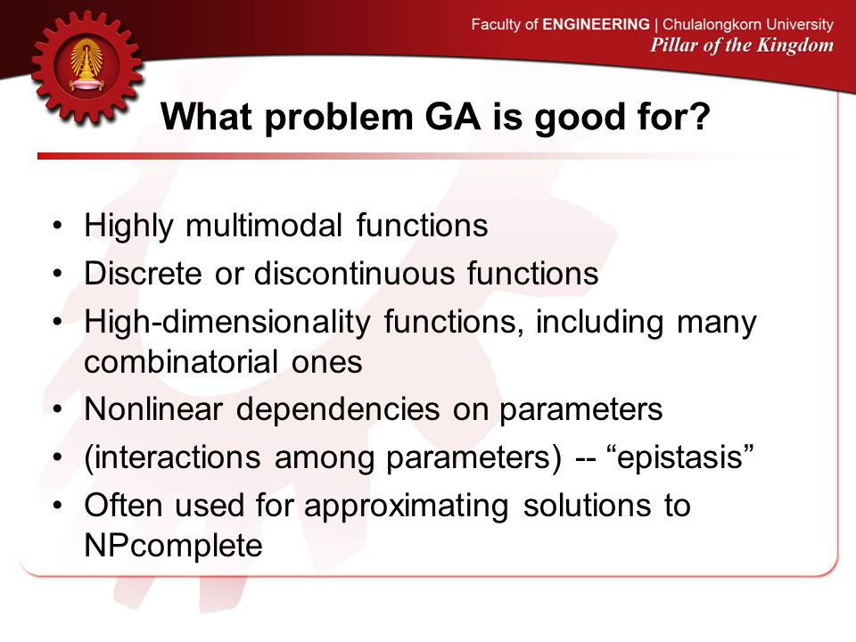What problem GA is good for.