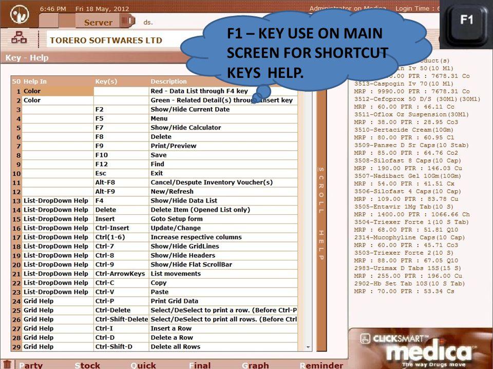 F1 – KEY USE ON MAIN SCREEN FOR SHORTCUT KEYS HELP.