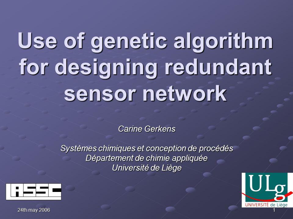 24th may 2006 1 Use of genetic algorithm for designing redundant sensor network Carine Gerkens Systèmes chimiques et conception de procédés Département de chimie appliquée Université de Liège
