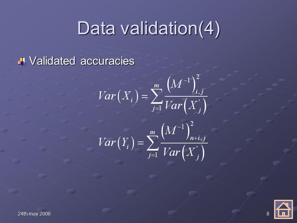 824th may 2006 Data validation(4) Validated accuracies