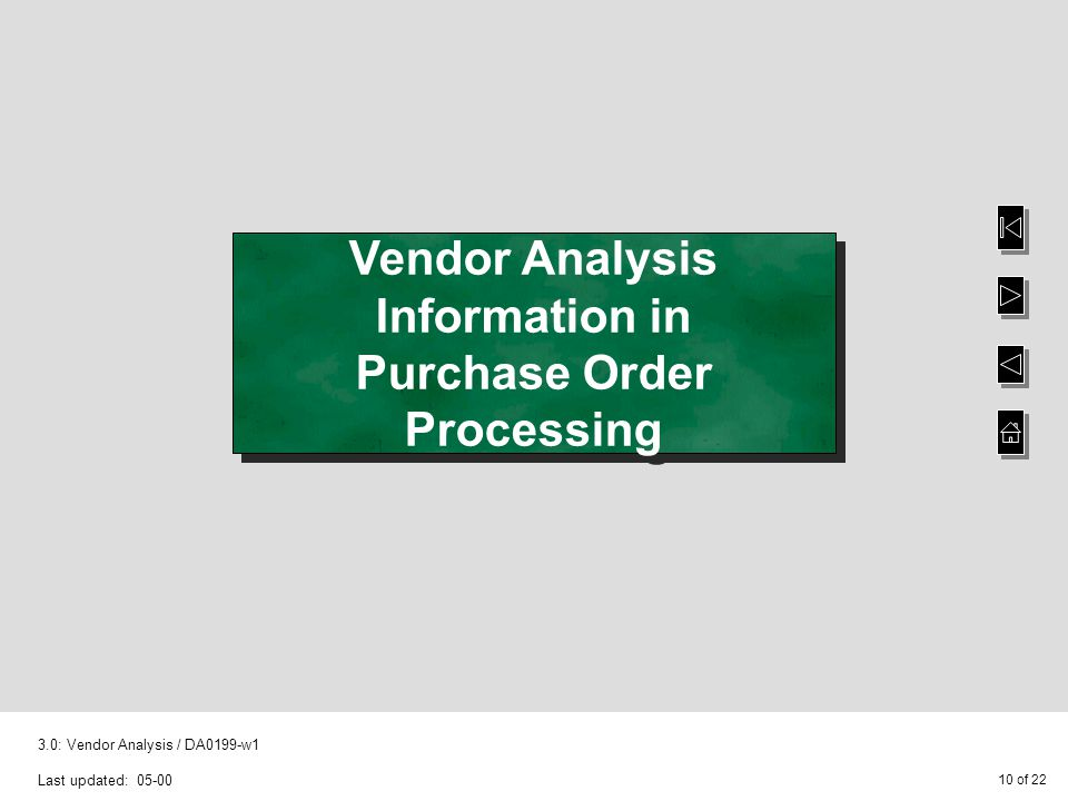 10 of 22 3.0: Vendor Analysis / DA0199-w1 Last updated: 05-00 Vendor Analysis Information in Purchase Order Processing