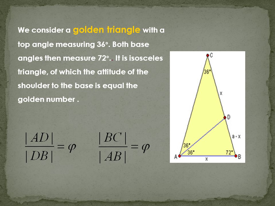 We consider a golden triangle with a top angle measuring 36 °.