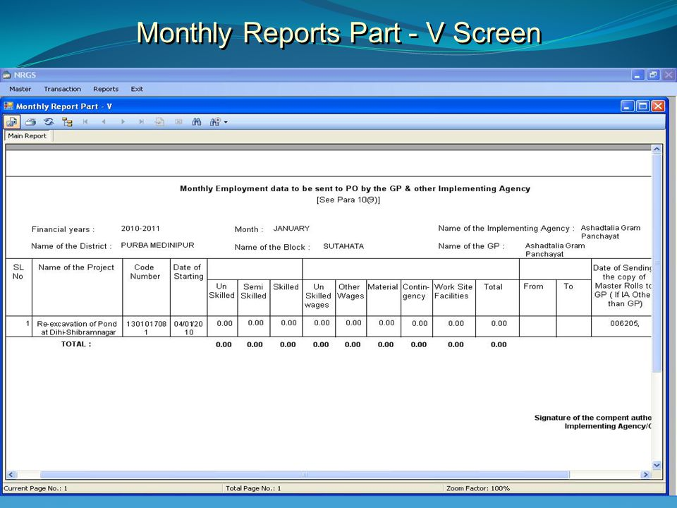 Monthly Reports Part - V Screen