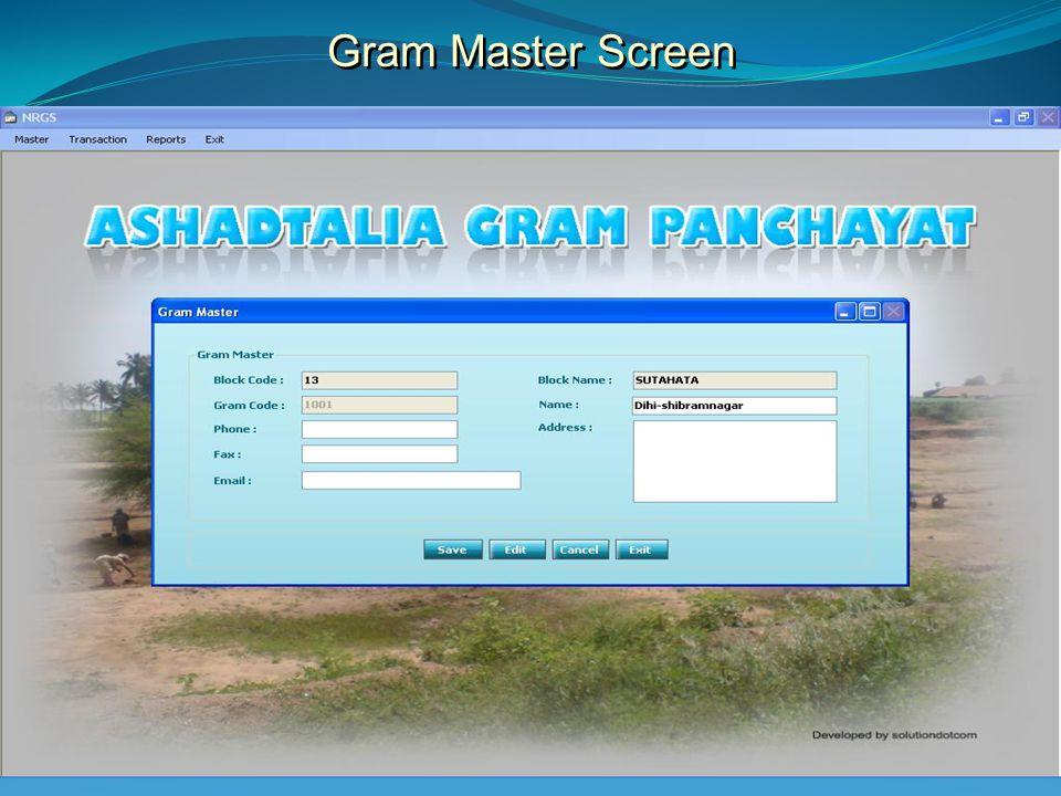 Gram Master Screen