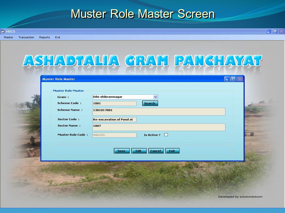 Muster Role Master Screen