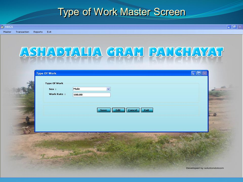 Type of Work Master Screen